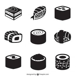 Ícones pretos sushi