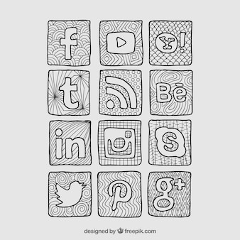 Ícones rede social esboçado