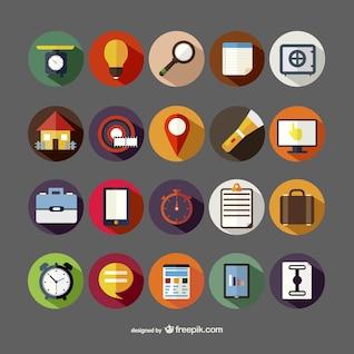 ícones variados redondos