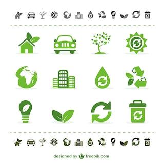 ícones verde ecologia do vetor