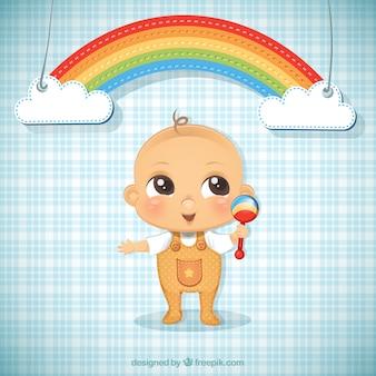 Ilustração Bebé e um arco-íris
