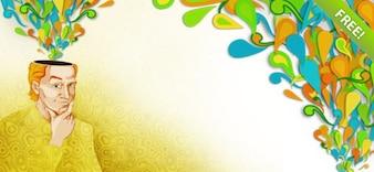 ilustração colorida de um jovem pensativo