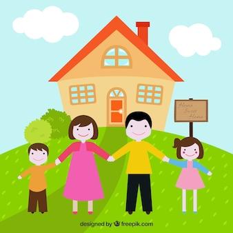 Ilustração da família feliz