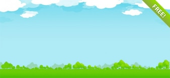 Ilustração da Natureza livre com céu, nuvens e árvores