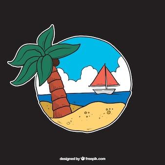 Ilustração da praia