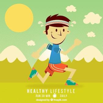 Ilustração Estilo de vida saudável no estilo dos desenhos animados