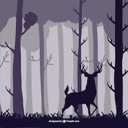Ilustração veado floresta vetor