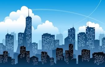 ilustração vetorial azul moderno da cidade