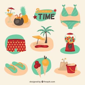 Ilustrações coloridas de verão