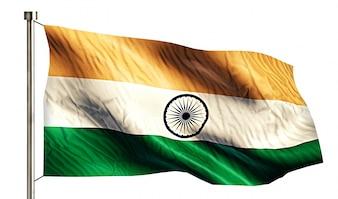 India National Flag Isolated 3D Fundo Branco