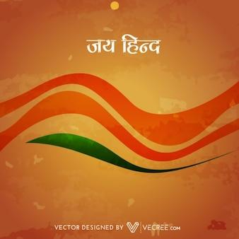 Bandeira indiana com fundo estilo onda