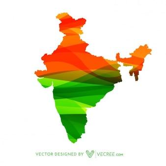 Mapa indiano em cores