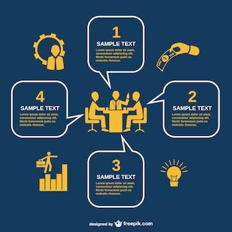 Infografia reunião de negócios