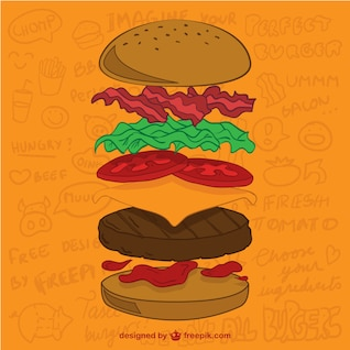 Ingredientes hambúrguer vetor