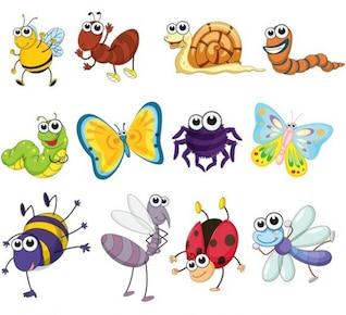 Insetos dos desenhos animados - embalagem vetores animais