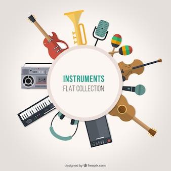 Instrumentos em design plano