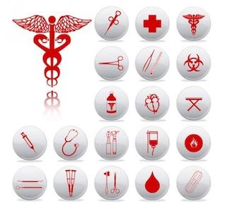 Instrumentos médicos e símbolos ícones do vetor