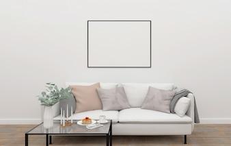 Interior escandinavo - maquete de quadro horizontal