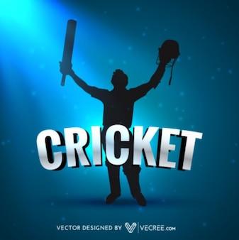 Jogador de críquete celebração silhueta azul poster