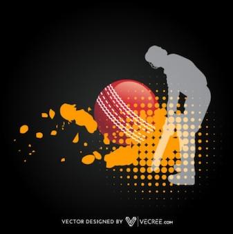 Jogador de críquete Silhouette Artístico