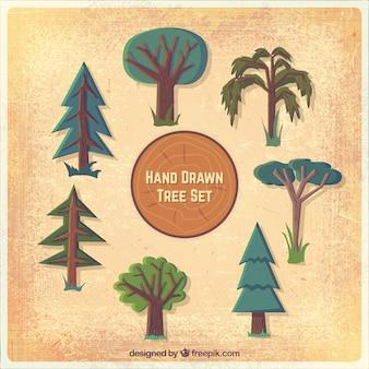 Jogo desenhado mão da árvore