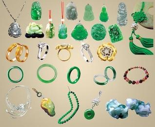 jóias de todos os tipos de ornamentos de jade psd resumo materiais