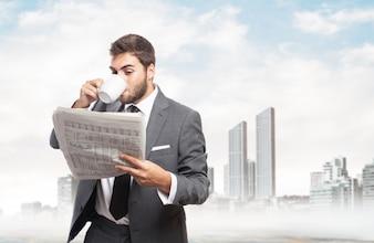 Jornal da leitura do homem de negócios