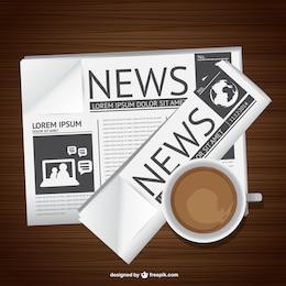 Jornal e café vetor arte