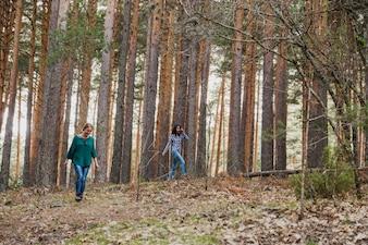 Jovem, mulheres, andar, logo, árvores, floresta