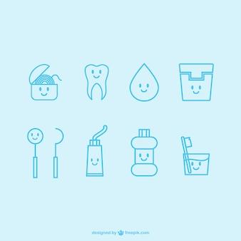 ícones dentista kawaii