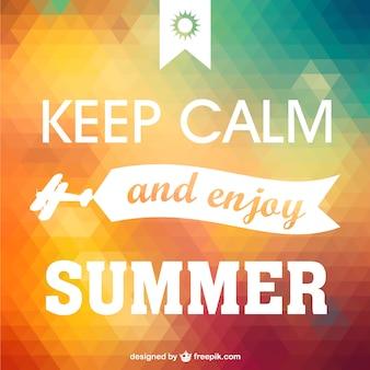 Manter a calma desfrutar cartaz verão