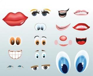Lábios olhos e bocas dos desenhos animados vector set