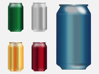 Latas de refrigerante de metal em branco