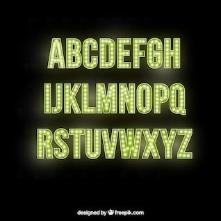 Letras do alfabeto brilhantes