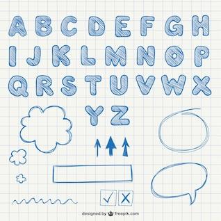 Letras do alfabeto caligráficos