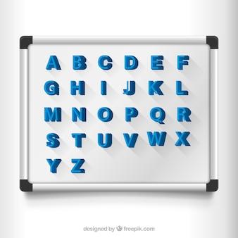 Letras magnéticas em uma placa