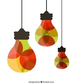 Lâmpadas feitas de círculos coloridos