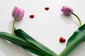 Lindas rosas com corações pequenos