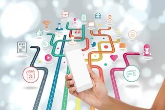 Linhas coloridas com os ícones de aplicativos