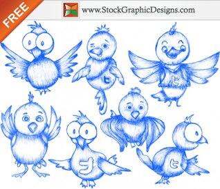 Livre Sketchy pássaro do Twitter Vector Icons