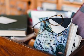 Livro com tampa quebrada com um óculos