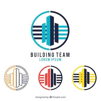 Logotipos da equipe edifício