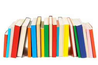 Longa fila de livros coloridos