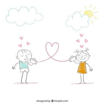 Mensagem do amor conceito em estilo desenhado mão