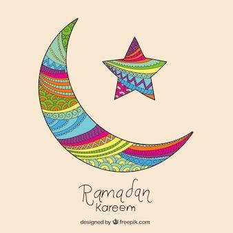 Lua crescente colorido para Ramadan Kareem