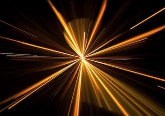 luz dourada estourou com raias saindo