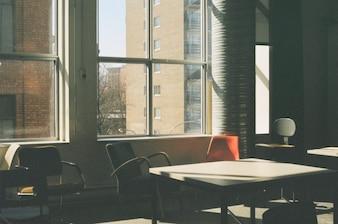 Luz solar através da janela