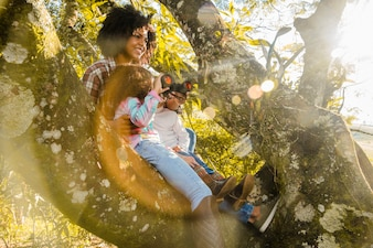 Mãe com filhos em uma árvore