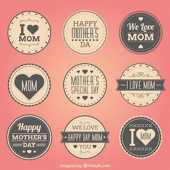 Mães retro emblemas dias