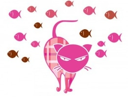 Mal-humorado gato-de-rosa do ícone do vetor